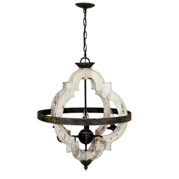 Abaca Wood Metal Pendant Lantern - Lanterns Abaca-Wood-Metal-Hanging-Light