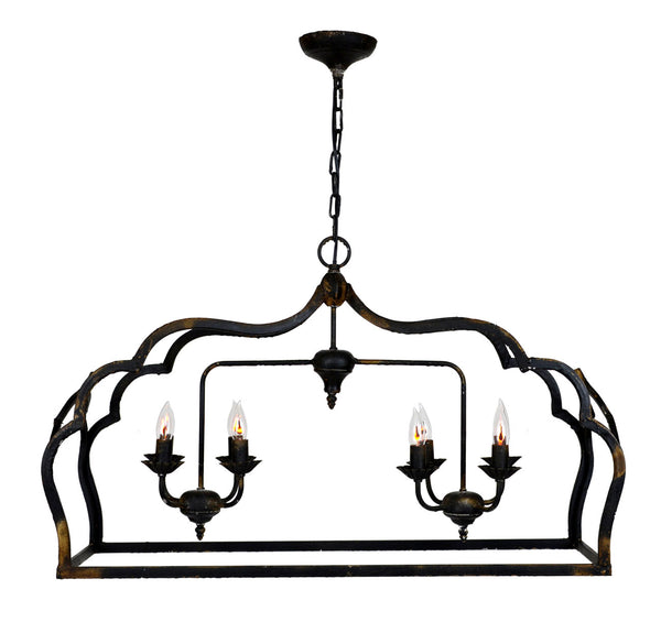 Jennet 8 Light Black Rectangular Pendant