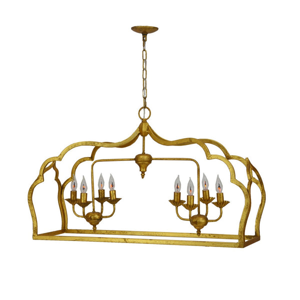 Jennet 8 Light Gold Rectangular Pendant