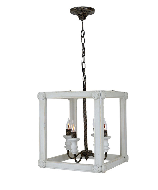 Sanna 4 Light Wood Lantern - Lillian Home