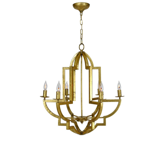 Hemius Gold 6 Light Chandelier - Lillian Home