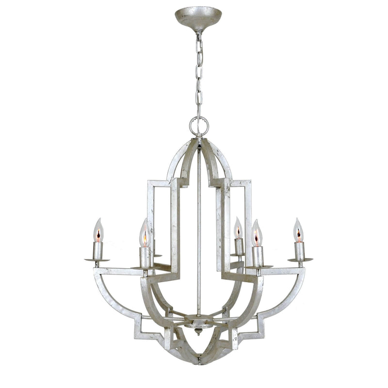 Hemius Silver Leaf 6 Light Chandelier - Lillian Home