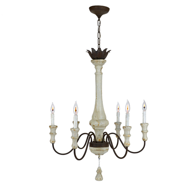 Chanaea 6 Light Wood Chandelier - Lillian Home