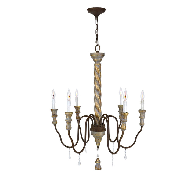 Oxford Carved Wood 6 Light Chandelier