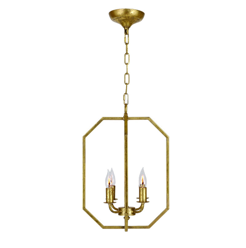 Atoma 4 Light Gold Leaf Lantern - Lillian Home
