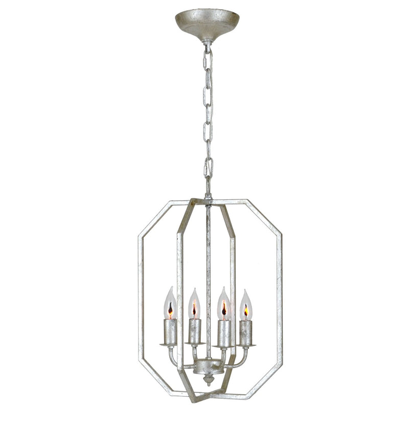 Atoma 4 Light Silver Leaf Lantern - Lillian Home