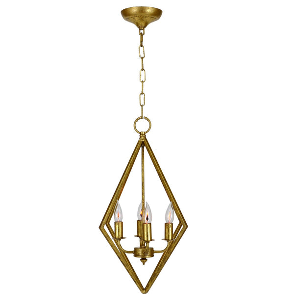Averes 4 Light Gold Leaf Pendant Light