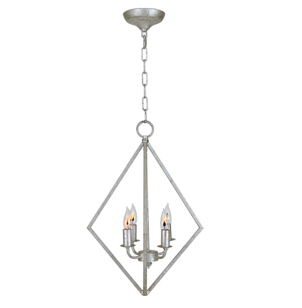 Silver 4 light pendant light, silver lantern