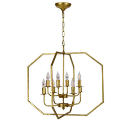 Panorama 8 Light Gold Leaf Lantern - Lillian Home
