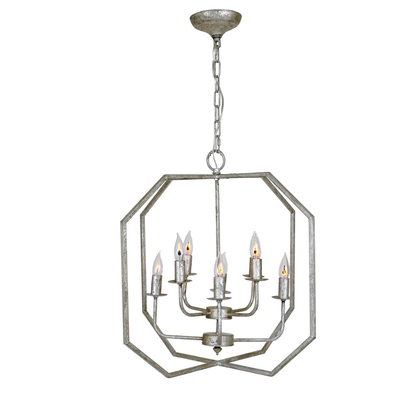 Panorama 8 Light Silver Lantern - Lillian Home