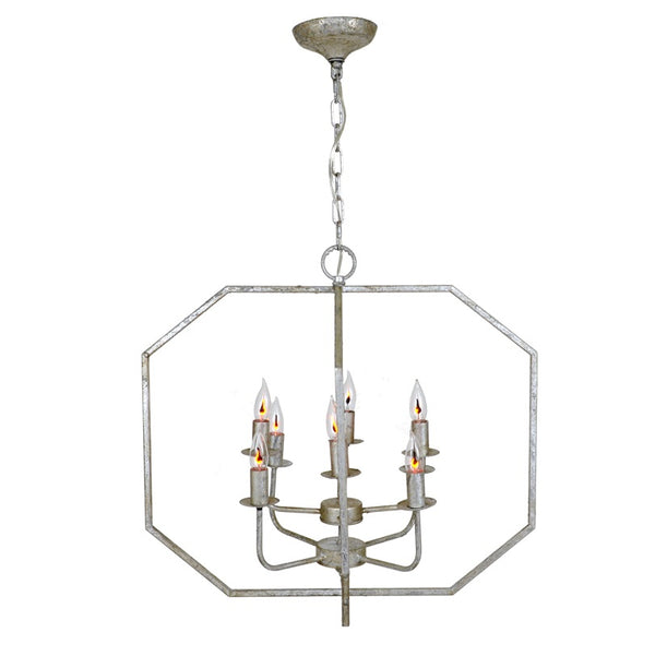 Antiqued silver finish lighting fixture