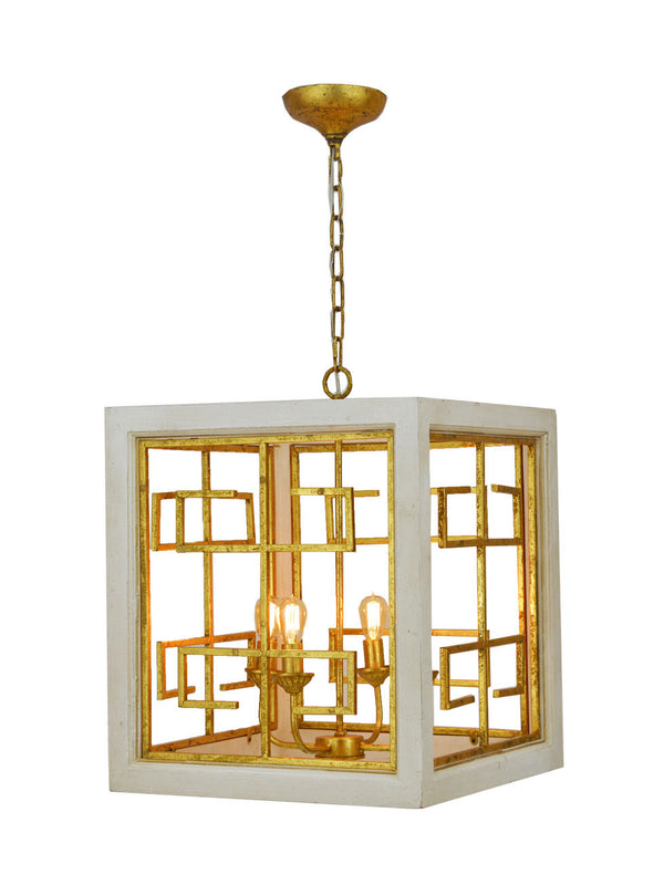 Luna 4 Light White and Gold Lantern - Lillian Home