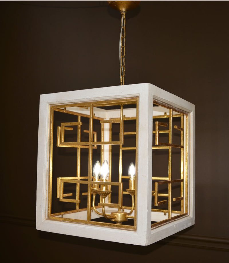 Luna 4 Light White And Gold Lantern