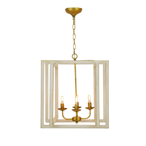 4 light white and gold light fixture, transitional lighting