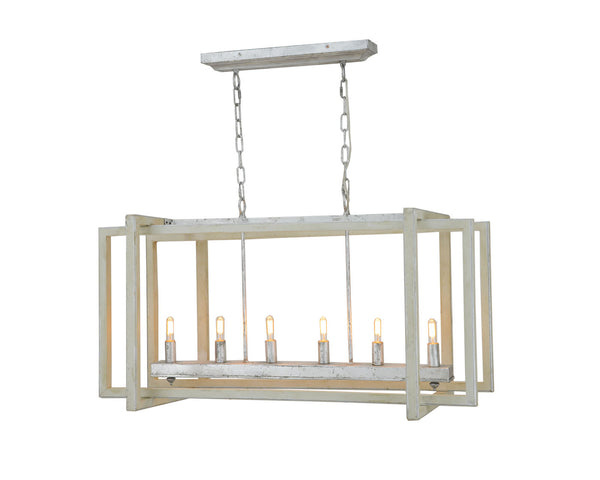 Sera 6 Light Grey And Silver Long Lantern