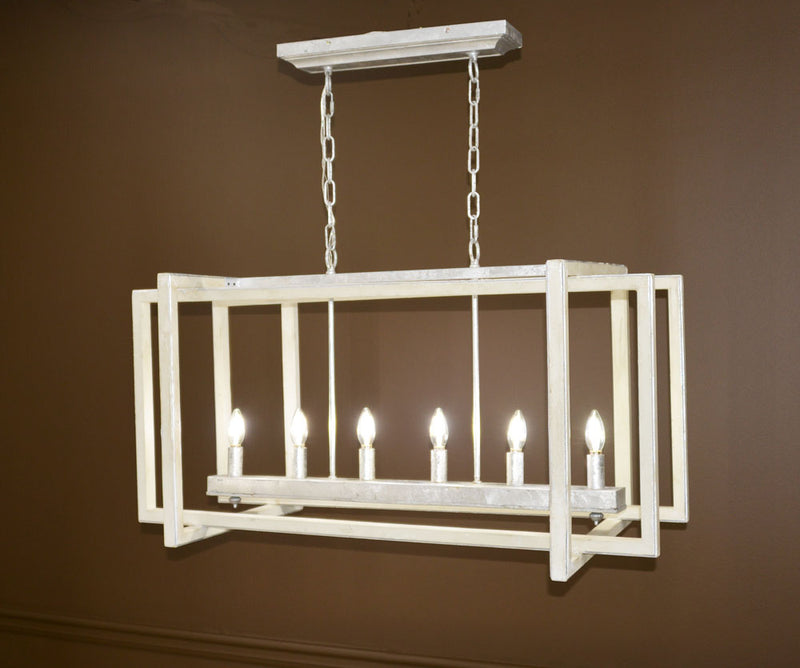 Sera 6 Light Grey and Silver Long Lantern - Lillian Home