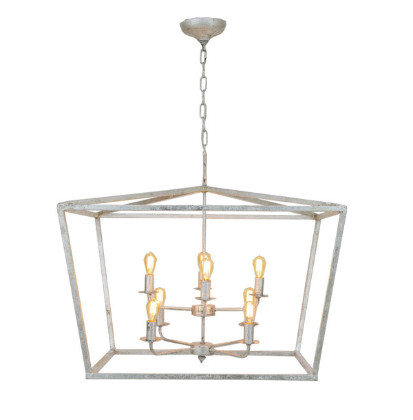 Large 8 light lantern, designer lighting in silver finish