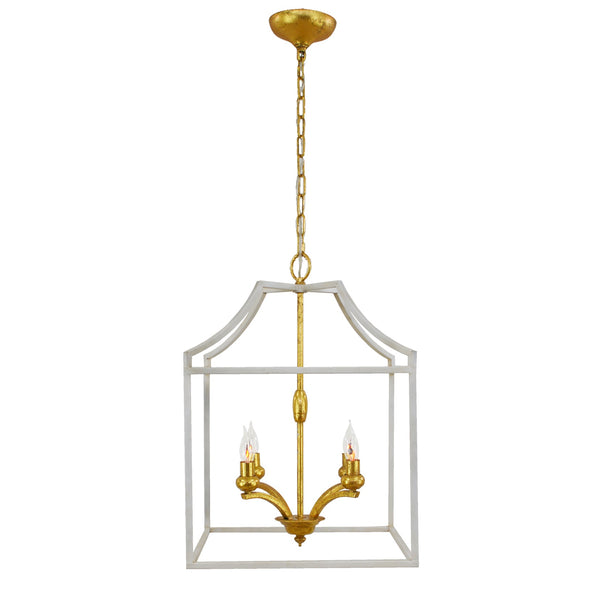 Delona 4 Light White and Gold Lantern - Lillian Home