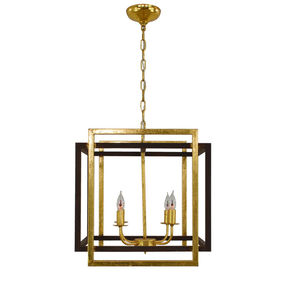 Soho 4 Light Brown and Gold Lantern - Lillian Home