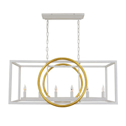 Penela 6 Light White and Gold Kitchen Island Light - Lillian Home