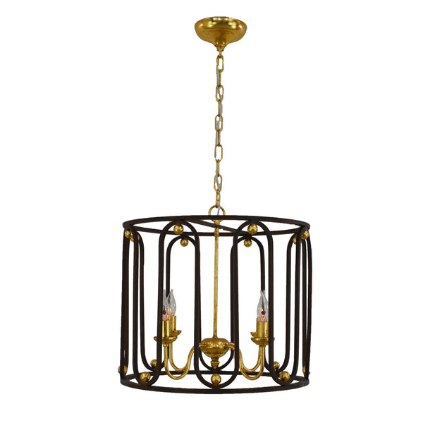 Asanna 4 Light Brown and Gold Lantern - Lillian Home