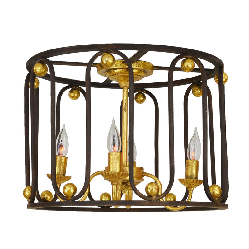 Pacha 4 Light Brown and Gold Flush Mount - Lillian Home