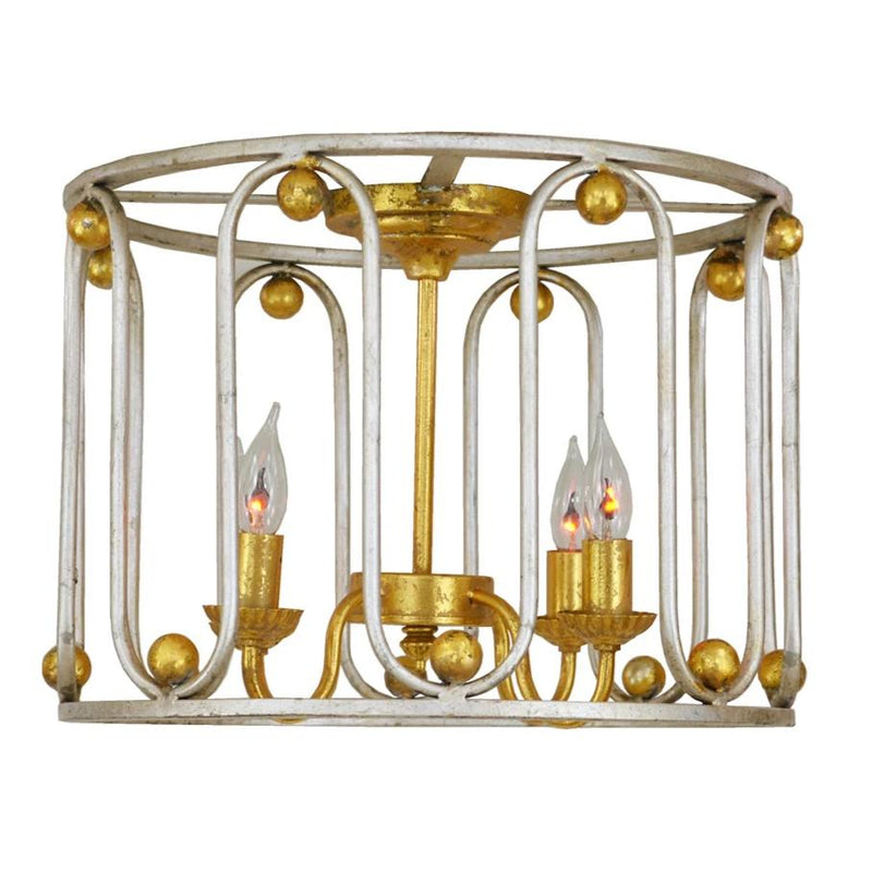 Pacha 4 Light Silver and Gold Flush Mount - Lillian Home