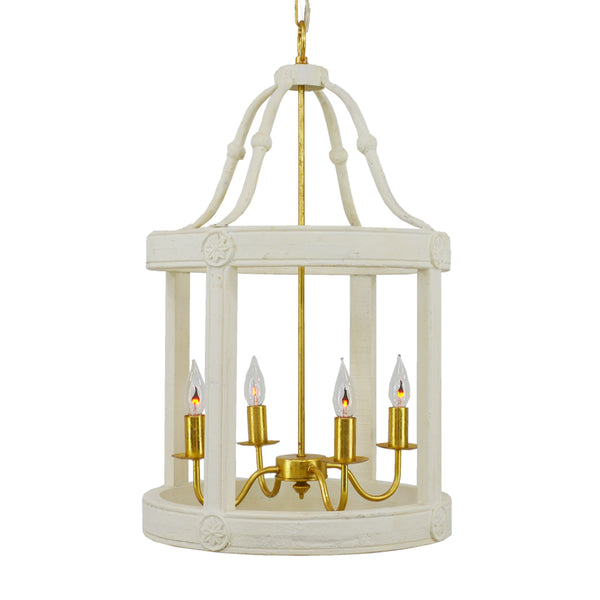 Lincoln 4 Light White and Gold Fixture