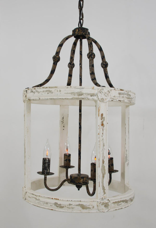 Lincoln 4 Light Wood Iron Lantern - Lillian Home