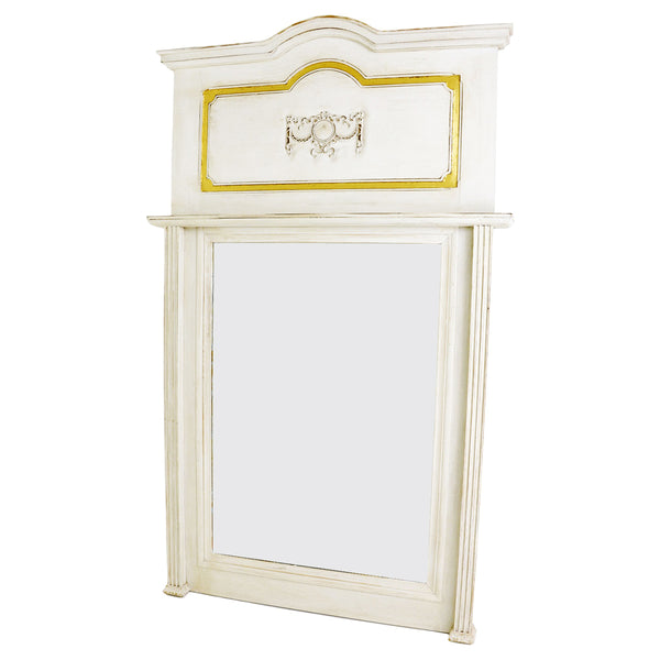 Lola White and Gold Wall Mirror- Lillian Home