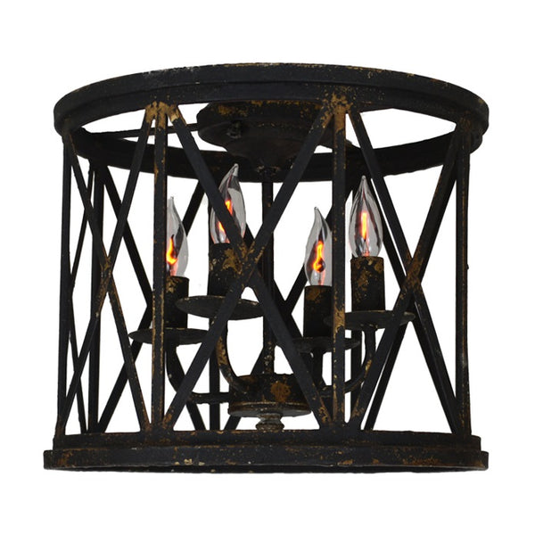 Lora 4 Light Black Flush Mount - Lillian Home