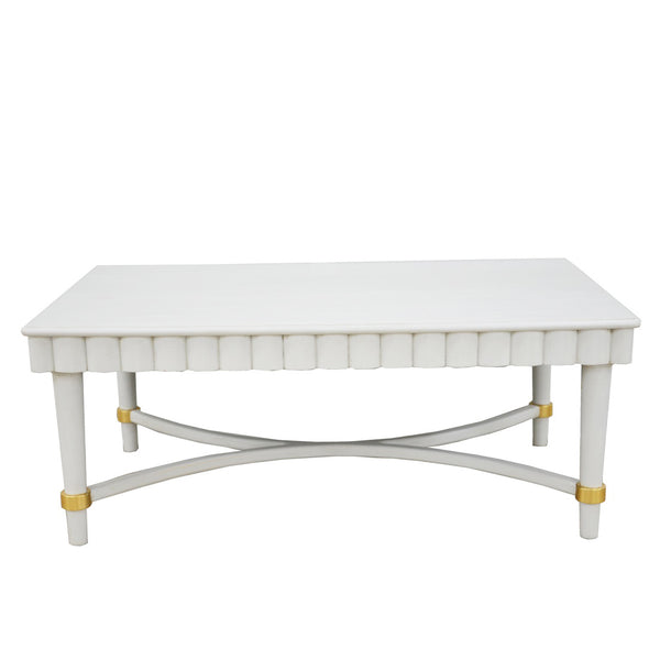 Manos White Oak Wood Coffee Table- Lillian Home