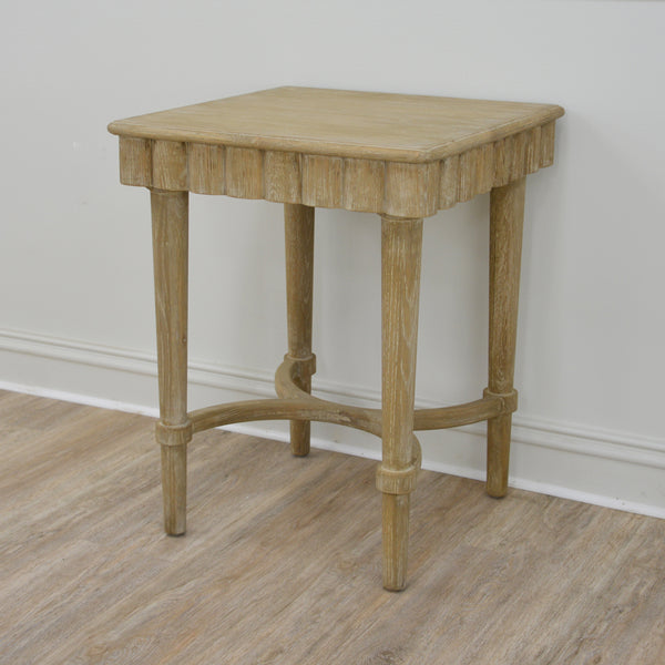 Manya Oak Wood Side Table- Lillian Home