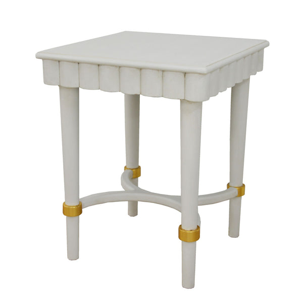 Manya White Side Table- Lillian Home