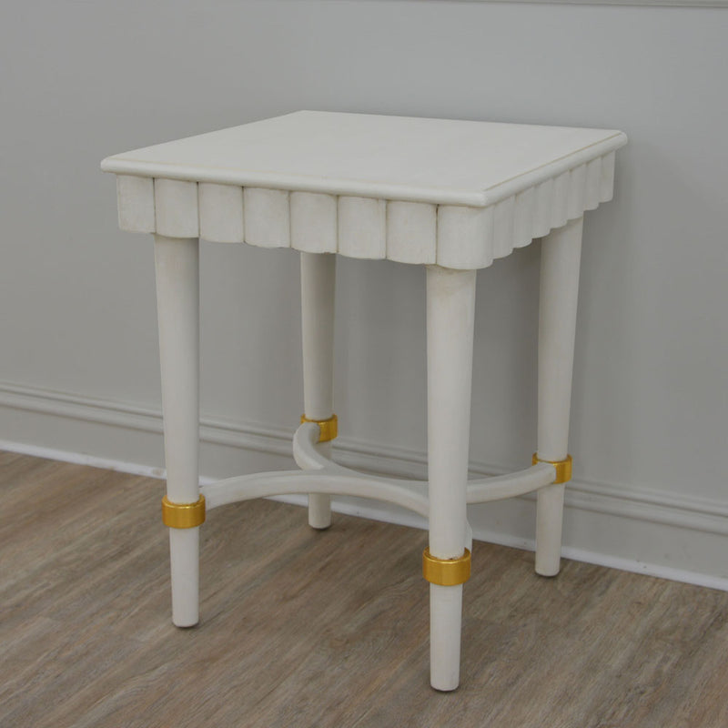 Manya White Oak Side Table- Lillian Home