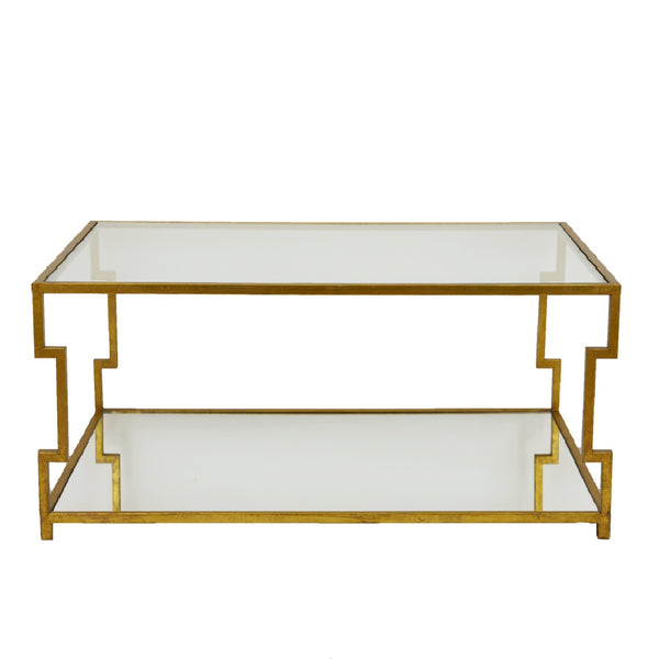 Marilyn 2 Shelves Gold Coffee Table- Lillian Home