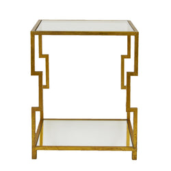 Martha 2 Shelves Gold End Table- Lillian Home