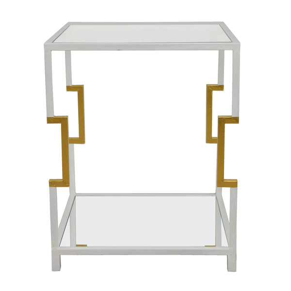Martha 2 Shelves White and Gold End Table- Lillian Home