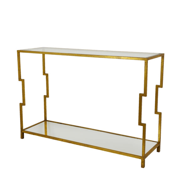 Martin 2 Shelves Gold Console Table- Lillian Home