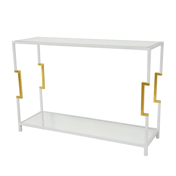 Martin 2 Shelves White and Gold Console Table- Lillian Home