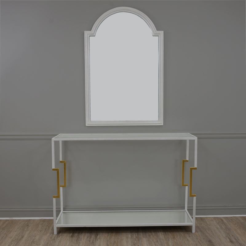 Martin 2 Shelves White and Gold Console Table- Console Table with White Mirror- Lillian Home