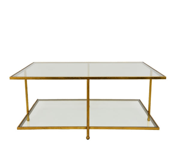 Romana Gold 2 Shelves Coffee Table- Lillian Home