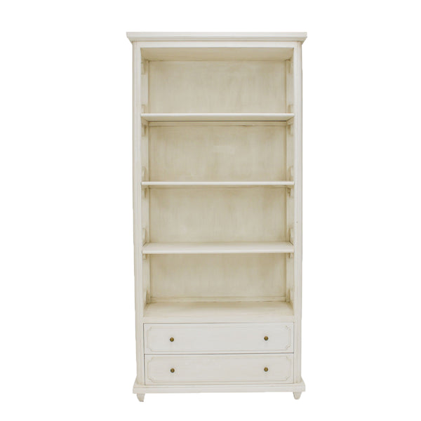 Samantha White Bookcase with 2 drawers- Lillian Home