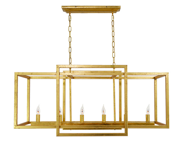 Soho 6 Light Gold Rectangular Chandelier