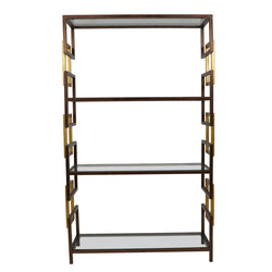 Sulu Brown and Gold Large Shelf- Lillian Home