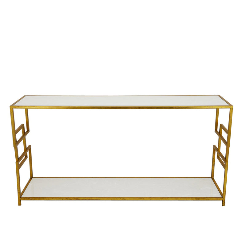 Ulu 2 Shelves Gold Console Table- Lillian Home