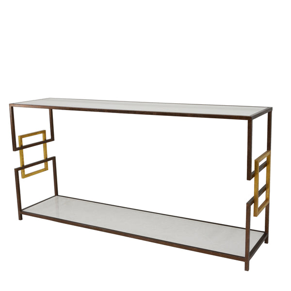 Ulu 2 Shelves Brown and Gold Console Table- Lillian Home