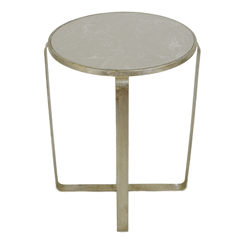 Dona Silver Leaf Stone Top Side Table