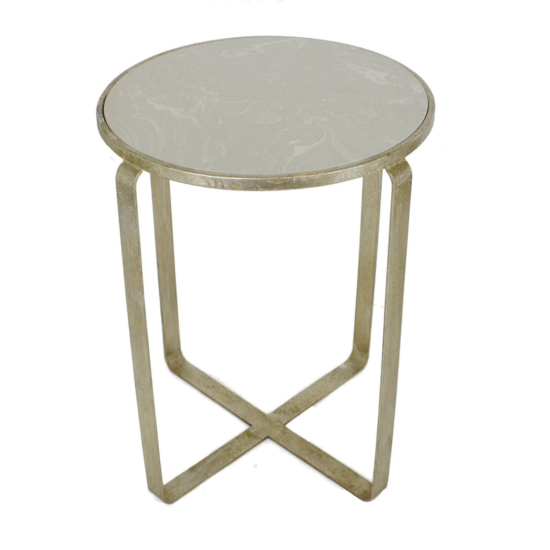 Dona Silver Leaf Stone Top Side Table - Lillian Home