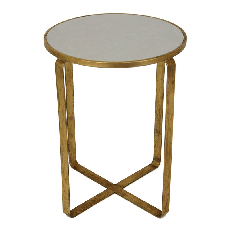 Dona Gold Leaf Stone Top Side Table